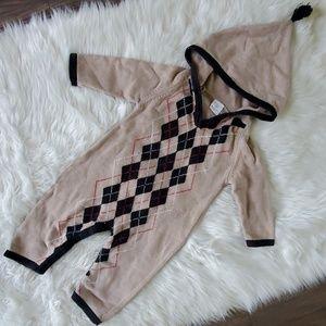 Hanna Andersson 80 knit suit fall autumn argyle 2t